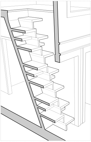 Perspectival cut-away drawing